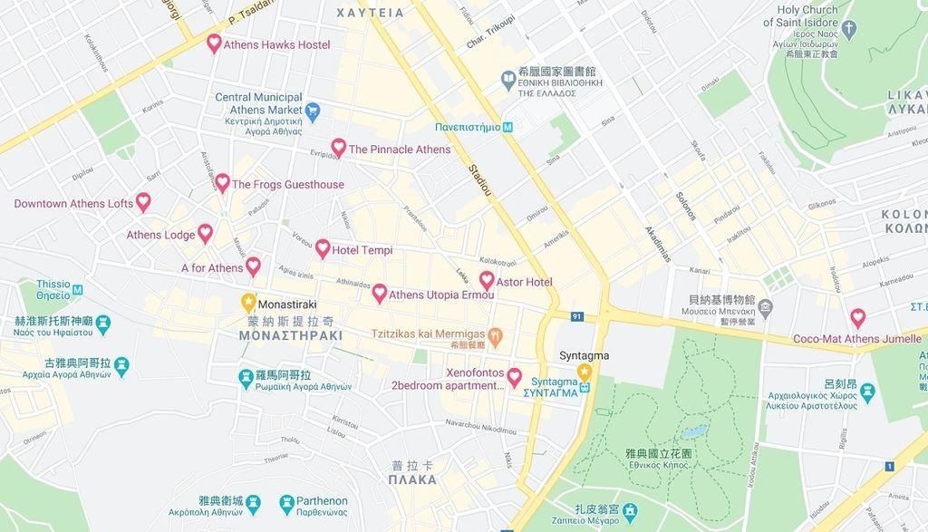 雅典住宿地圖