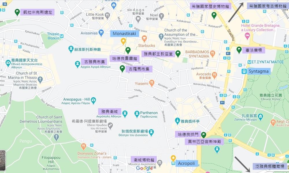 雅典景點地圖