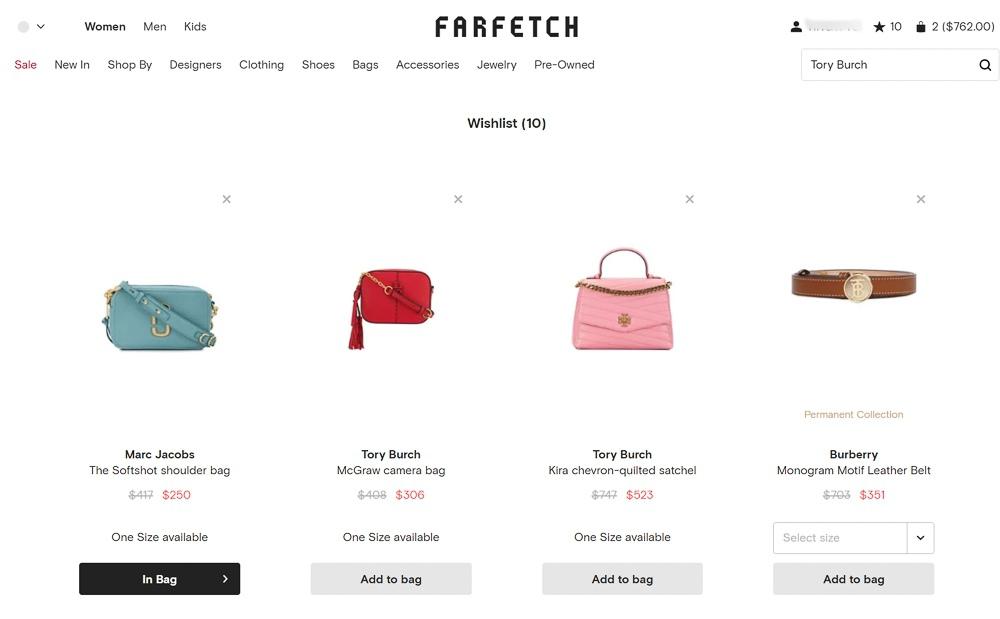 Farfetch Wishlist