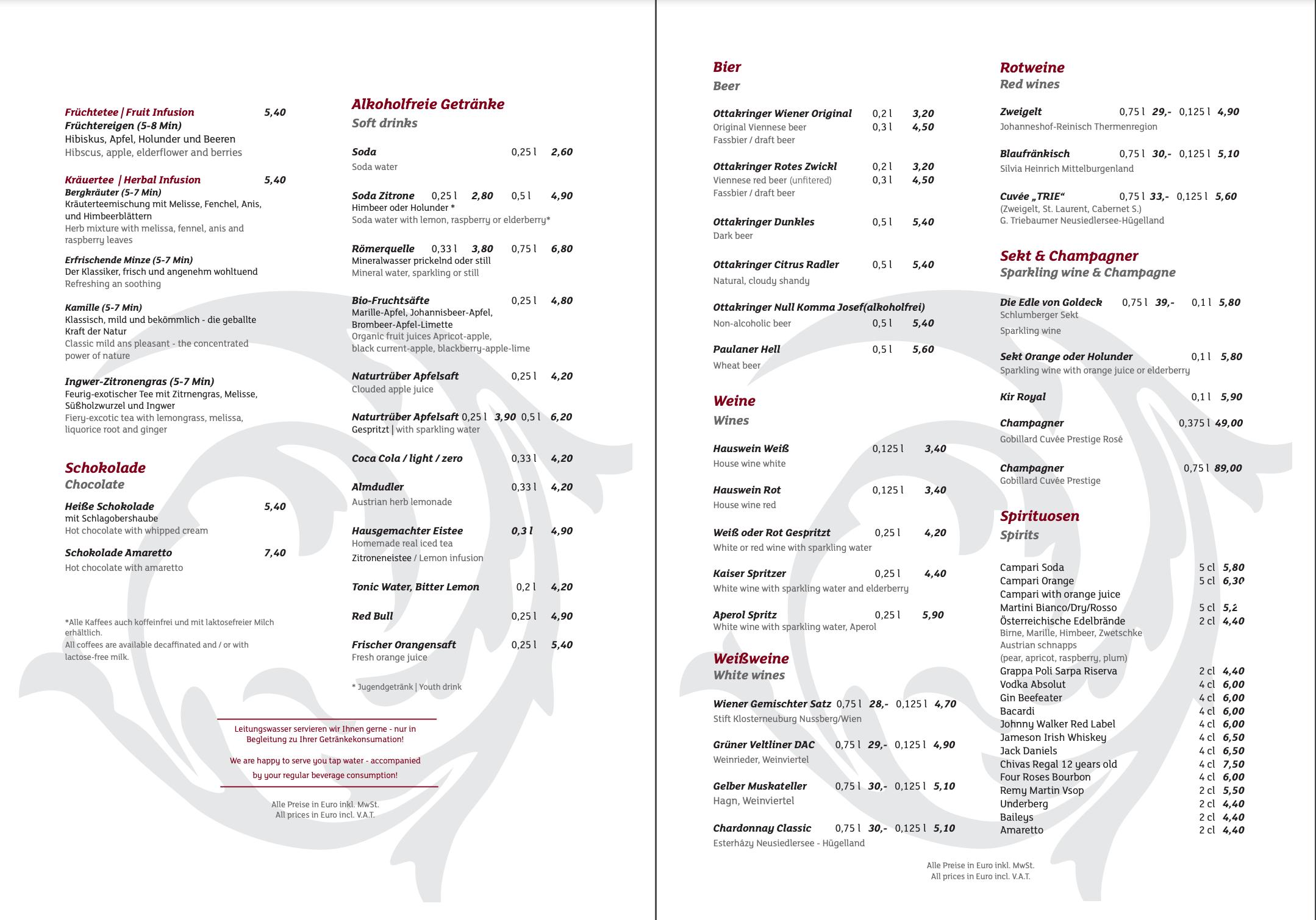 Café Central 菜單