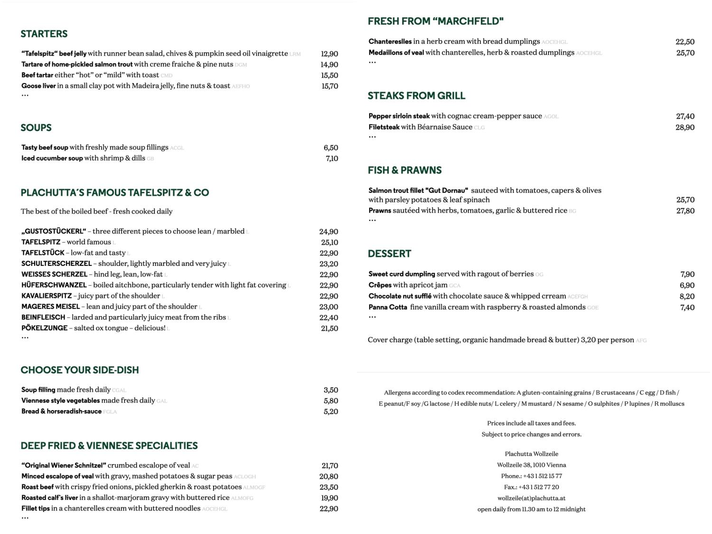 Plachutta菜單