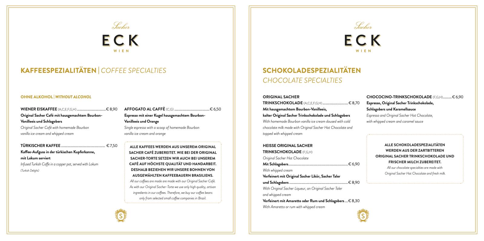 Café Sacher 菜單