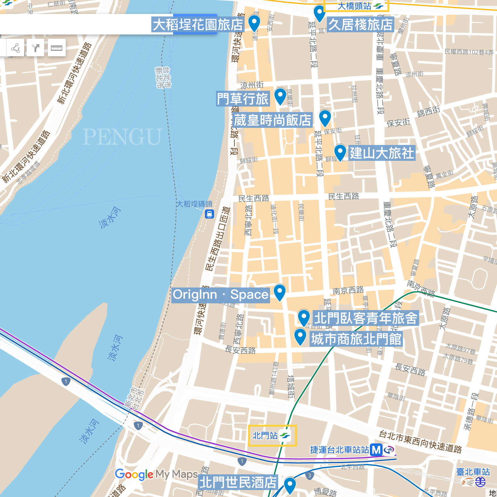 大稻埕住宿地圖
